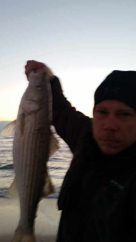 My story catching my first striped (striper) bass while surf fishing in New Jersey